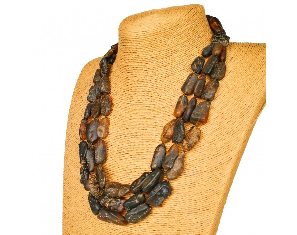 Three strings black unpolished amber necklace