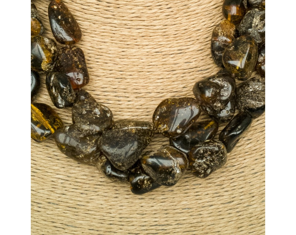 3 pcs of dark green amber necklaces
