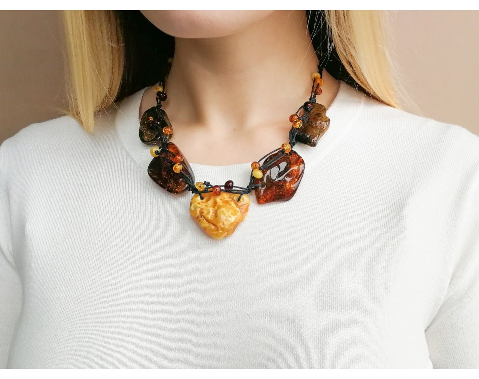5 rainbow free form pieces necklace