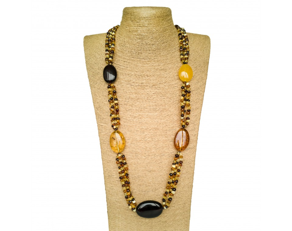 5 multicolor amber stones x mix baroque beads necklace