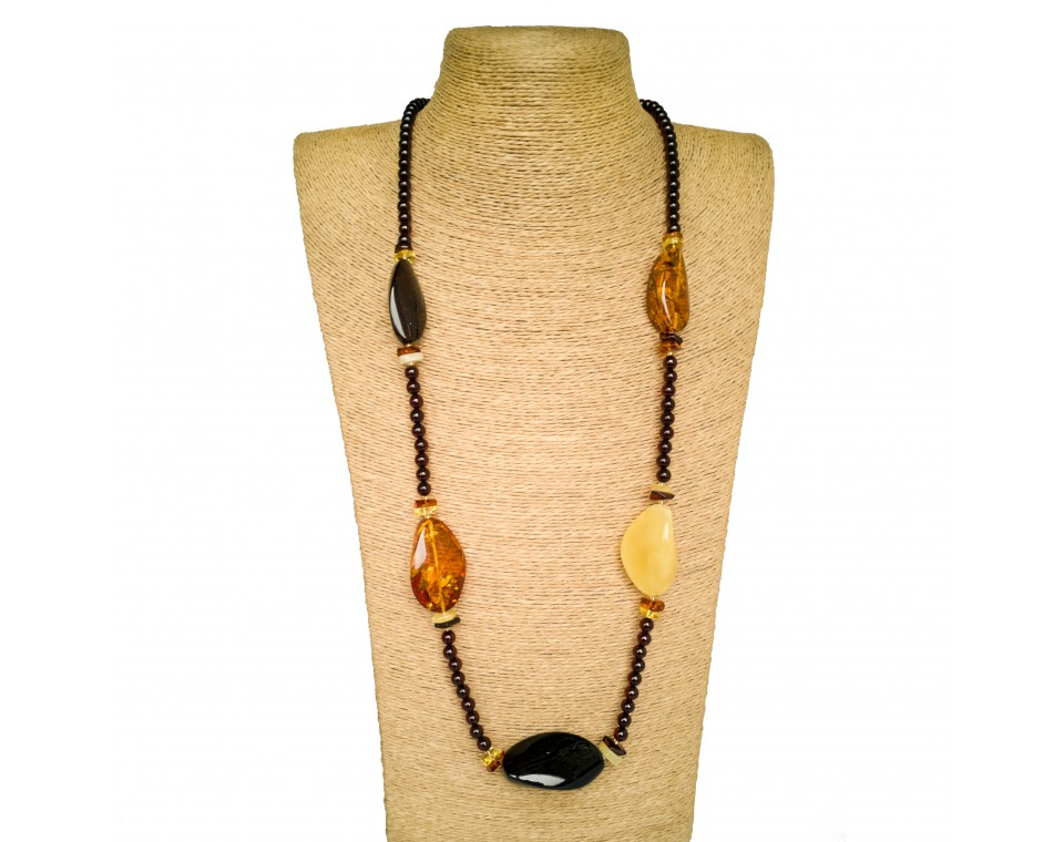 5 natural amber twisted multicolor beads necklace