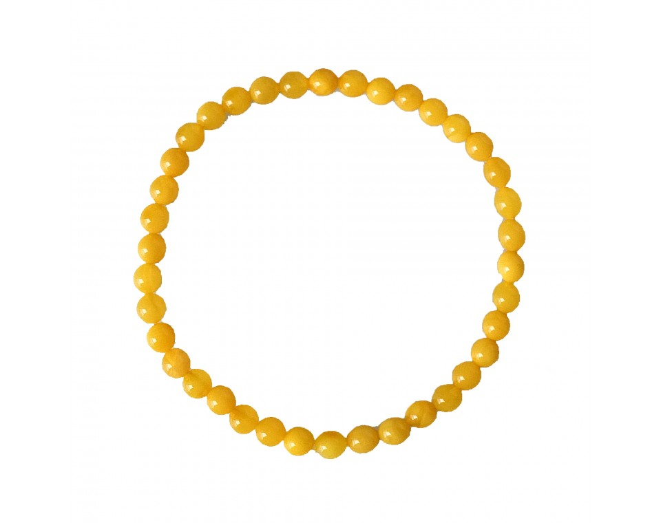 White caramel color natural amber round (5mm) beads bracelet