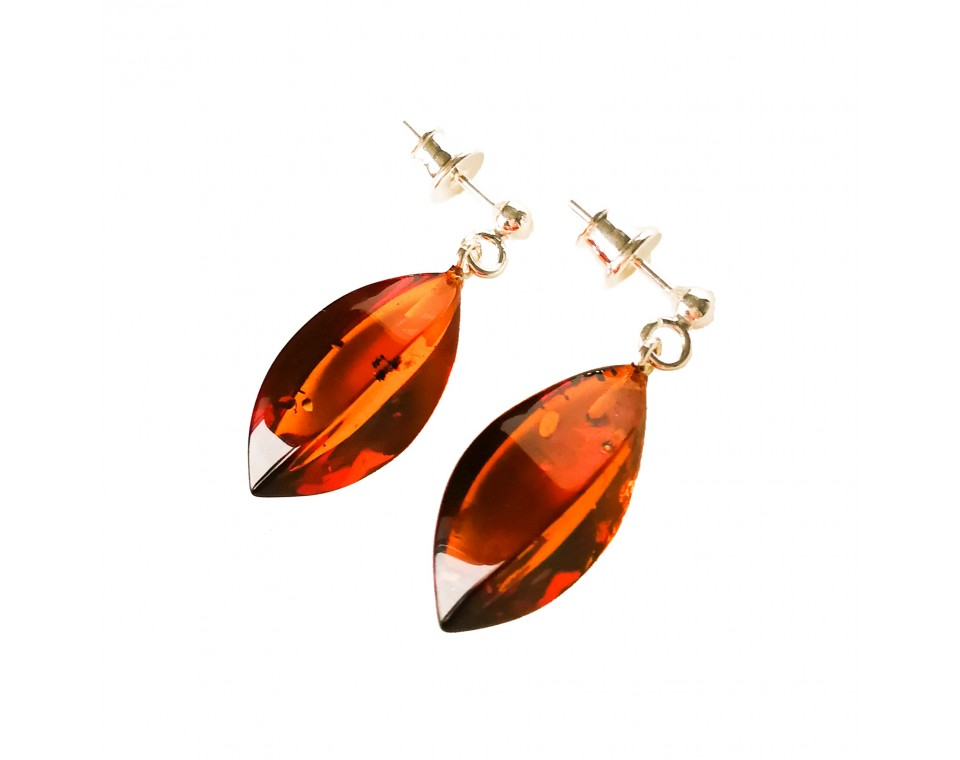 Twisted cognac earrings #04