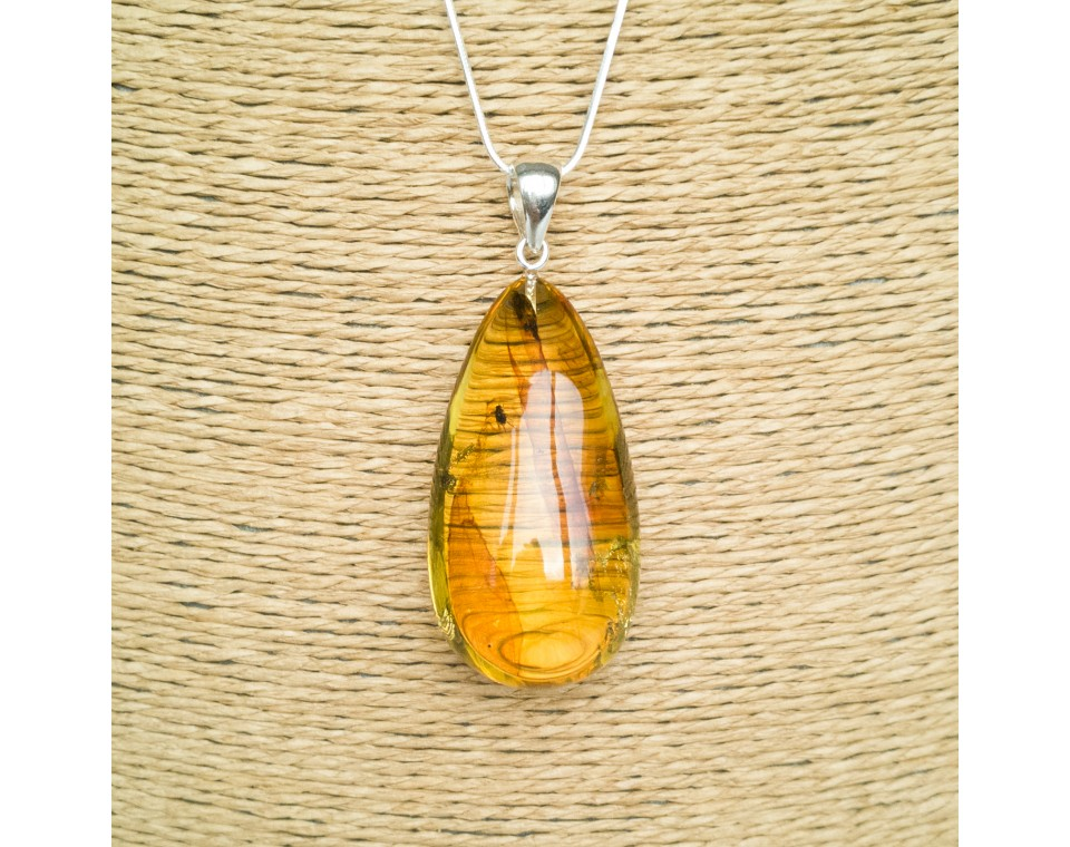 Amber pendant with inclussions #19