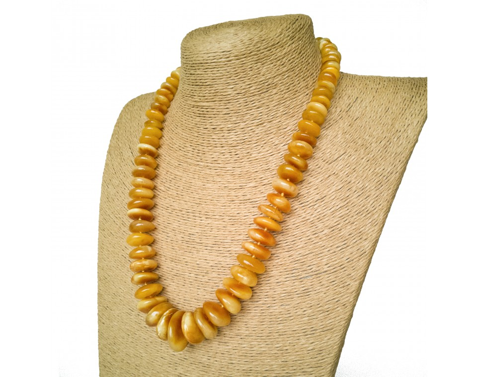 Antique look-a-like natural matt amber necklace