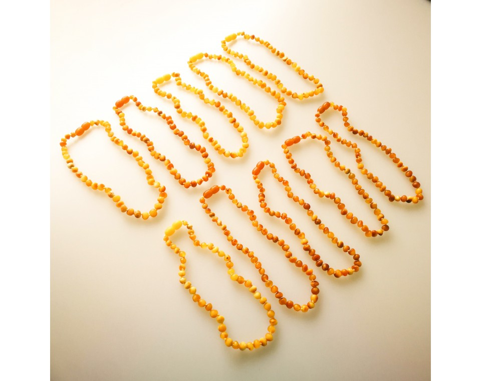 Natural amber frosted baroque teething baby necklace matt color (10 pcs)