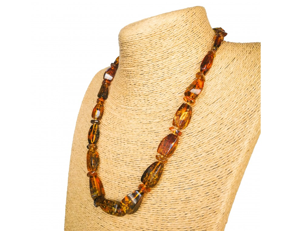Cognac color rectangle beads natural amber necklace