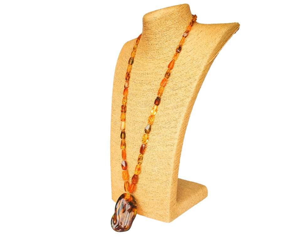 Deep cognac color very long natural amber pendant necklace