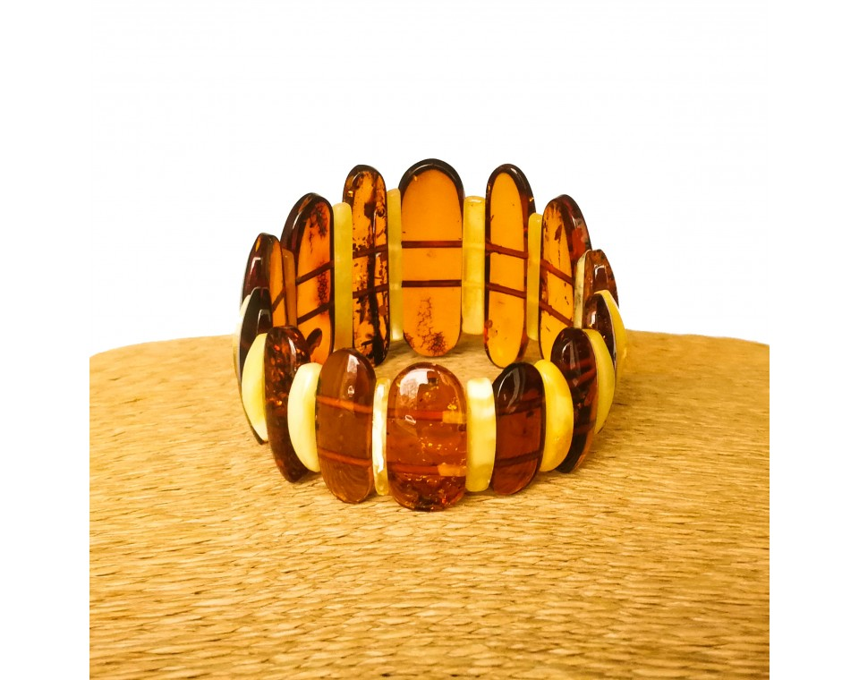 M classy cognac and yellow white natural amber bracelet