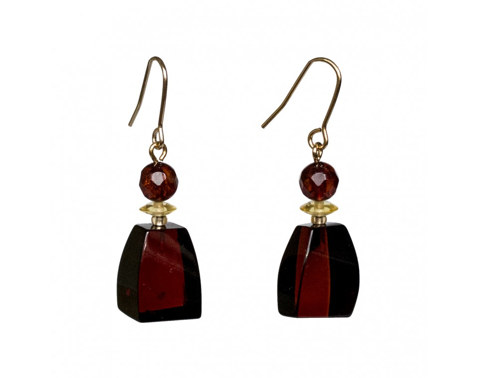 Cherry color amber earrings fragments #04