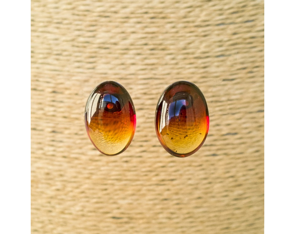 Cherry color natural amber bean post earrings