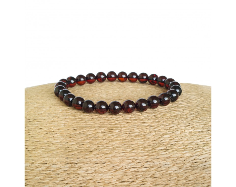 Cherry color natural amber round (7,5 mm) beads bracelet