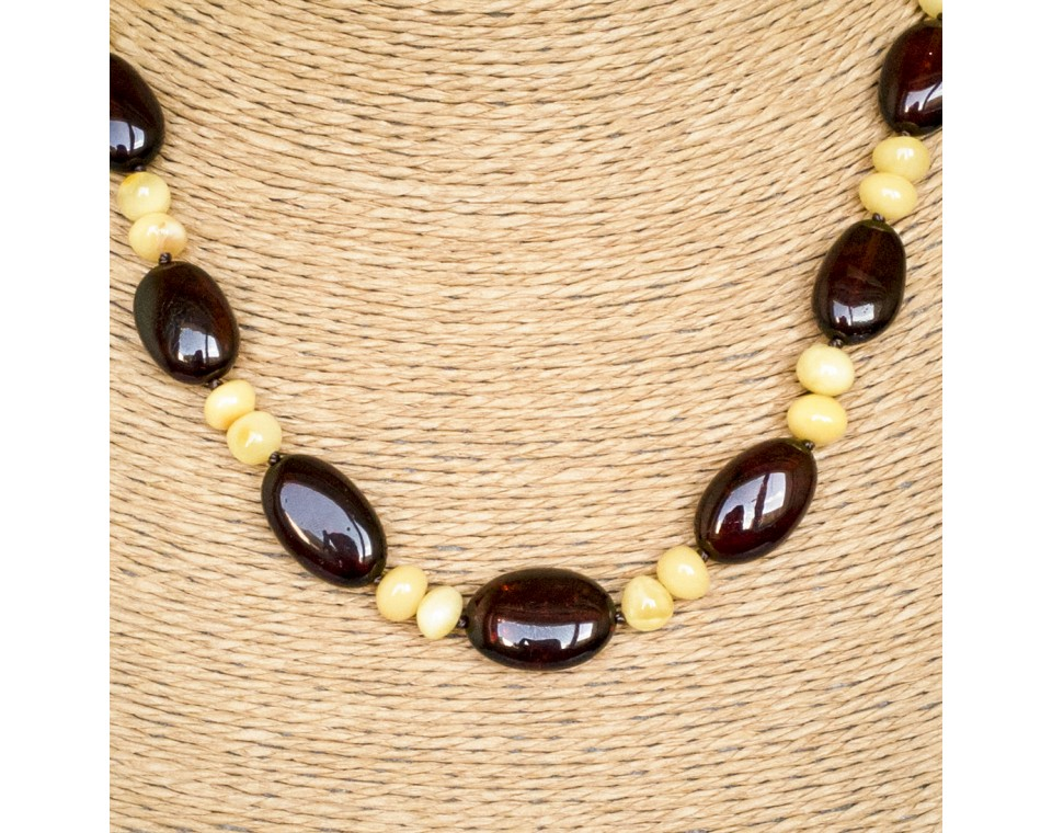 Cherry plums and white baroque beads necklace