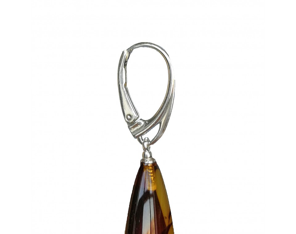 M natural amber cognac drops earrings #01