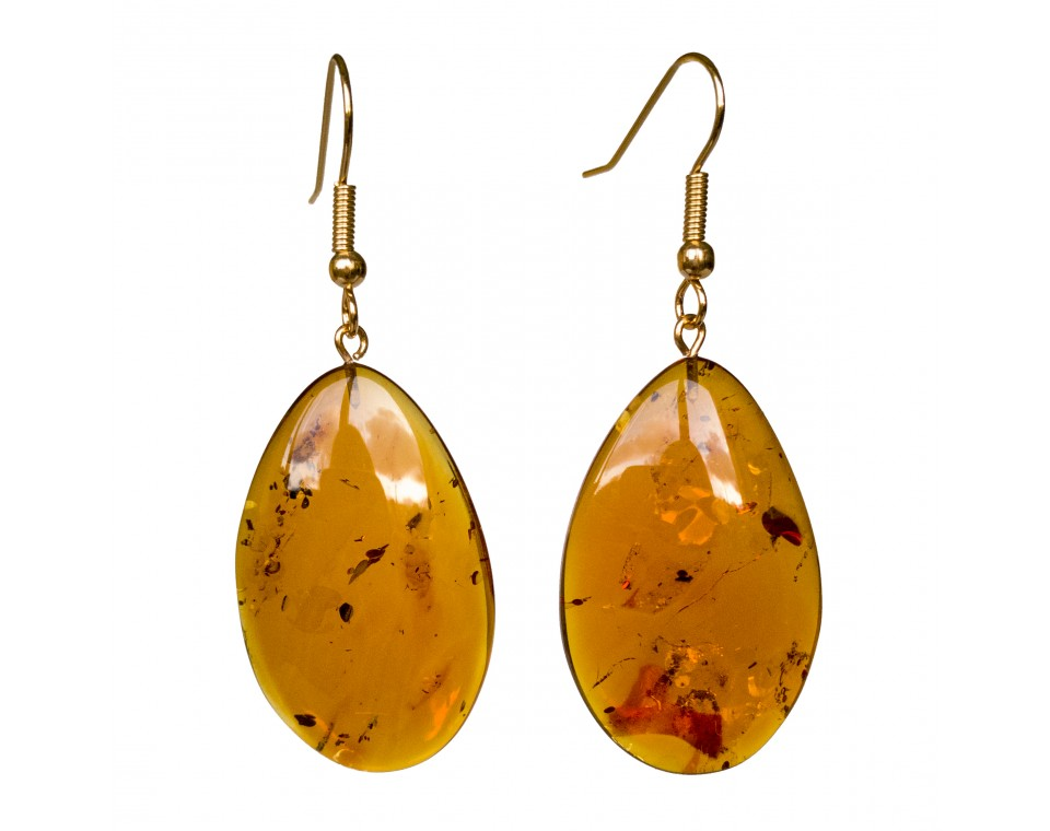 Cognac amber leafs earrings #03