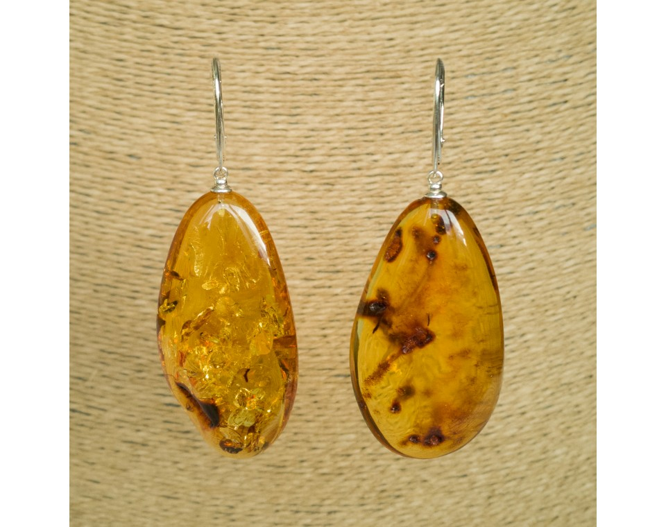 Cognac amber leafs earrings #04
