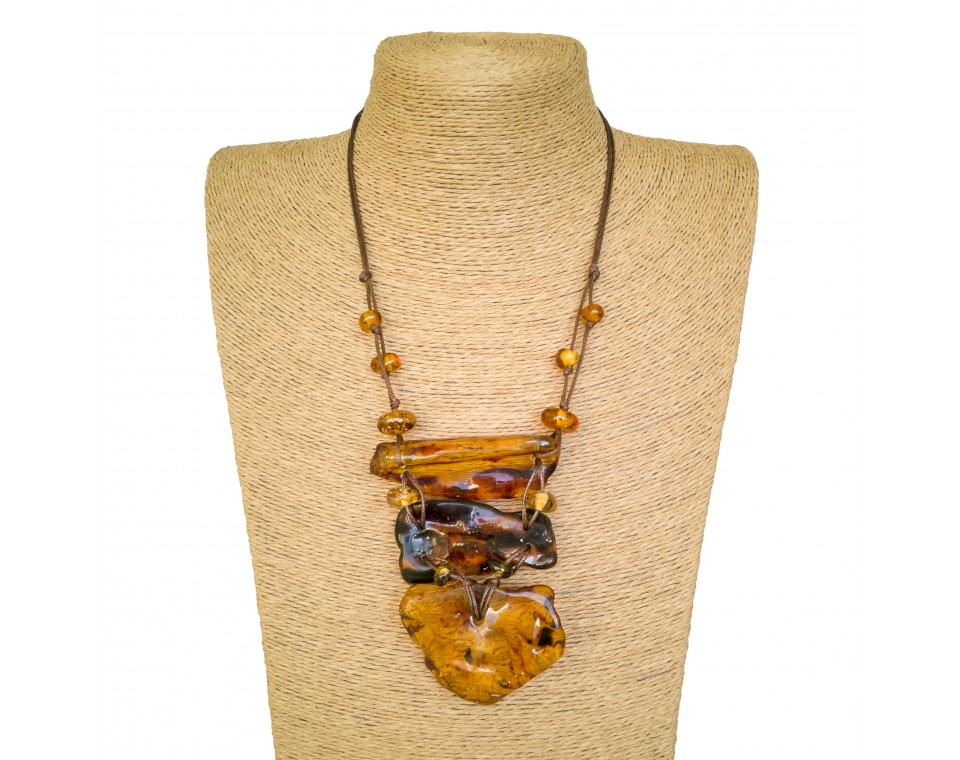 Cognac color 3pcs copal necklace #01