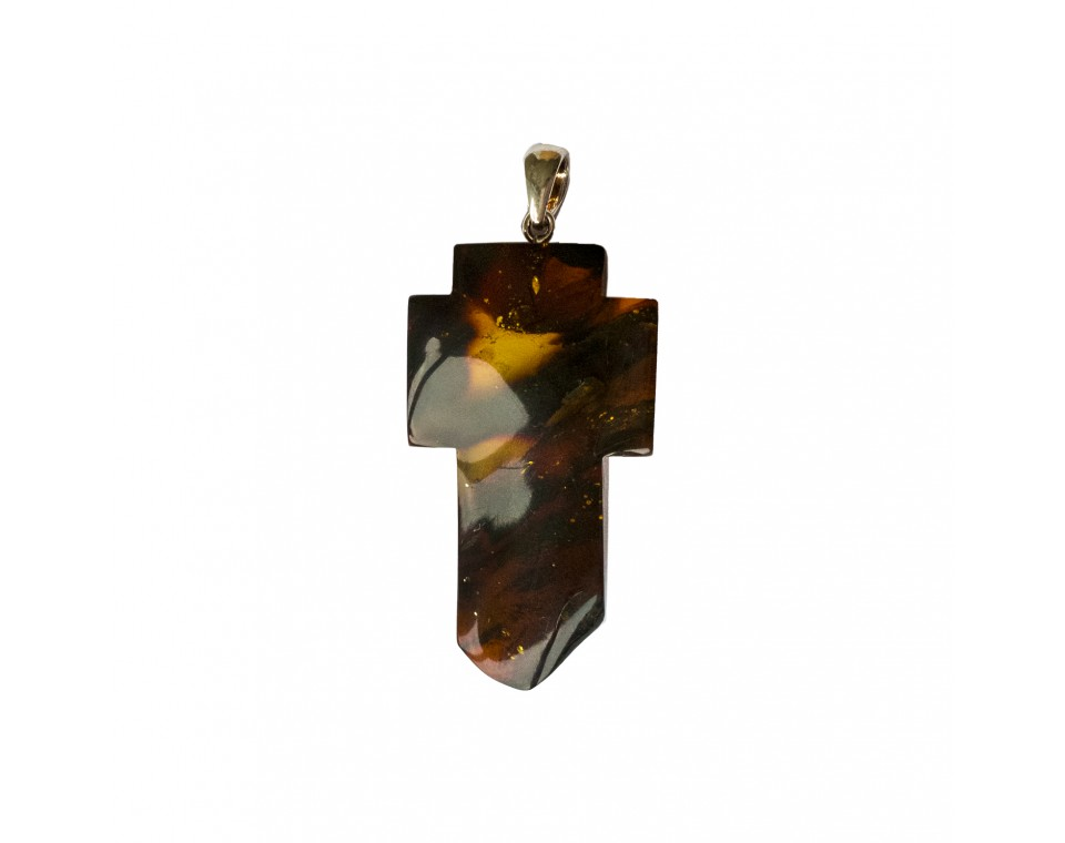 Cognac color amber cross pendant