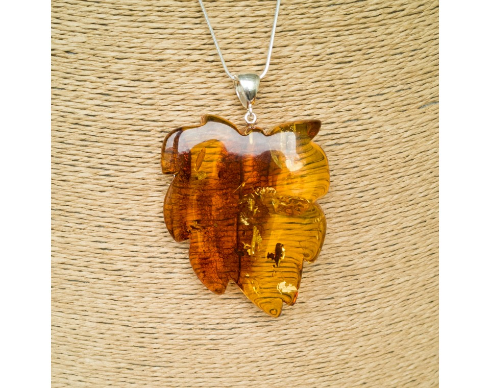 Cognac color amber leaf pendant #03