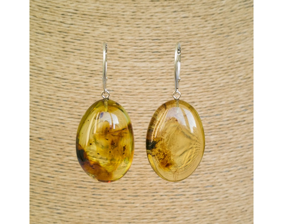 Cognac color copal bean earrings #03