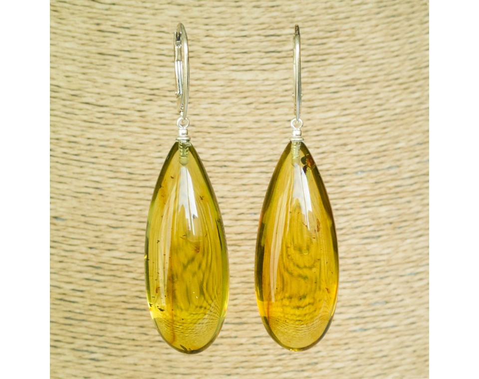 Cognac color copal earrings drops #01