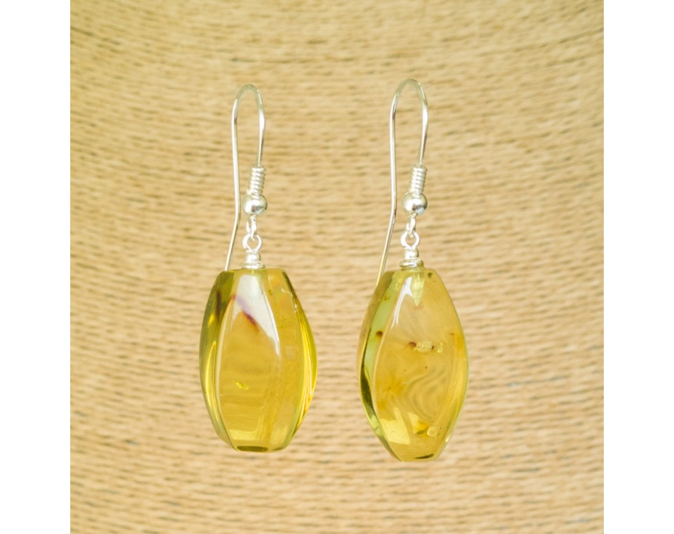 Cognac color copal earrings fragments #03