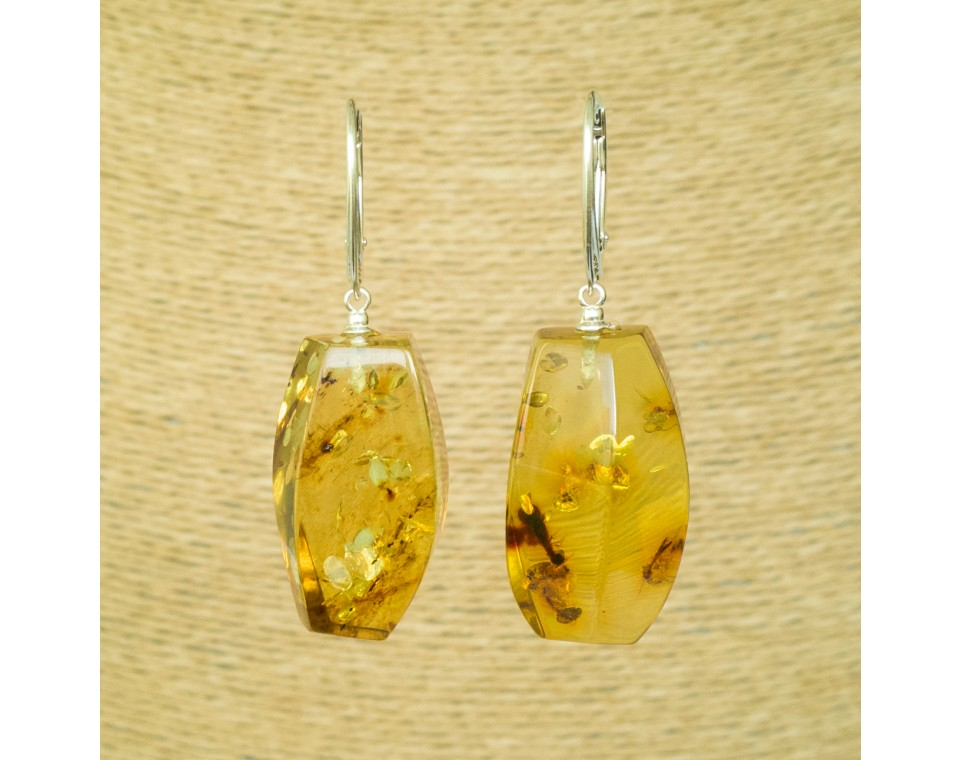 Cognac color copal earrings fragments #05