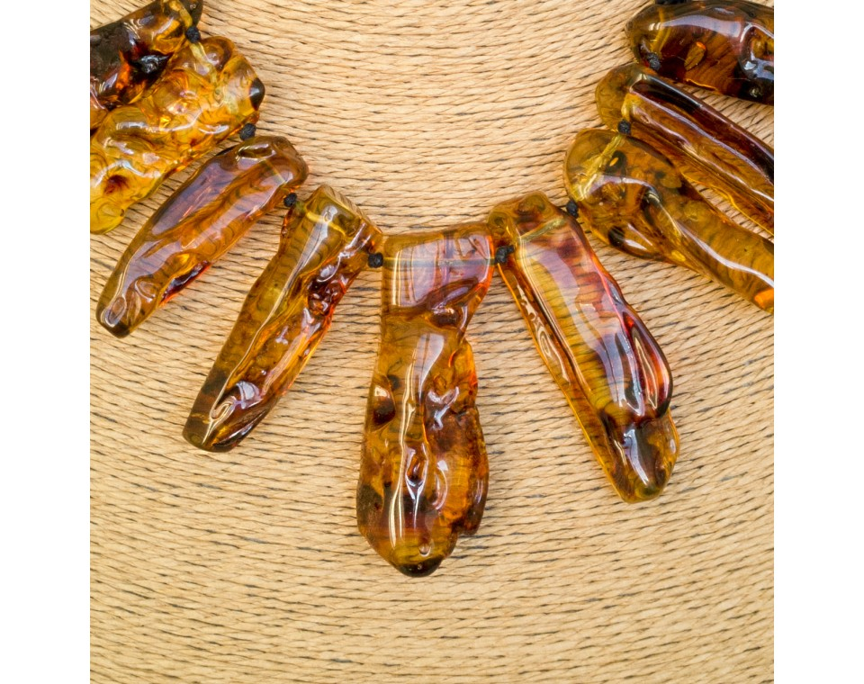 Cognac color copal necklace x cotton thread #01