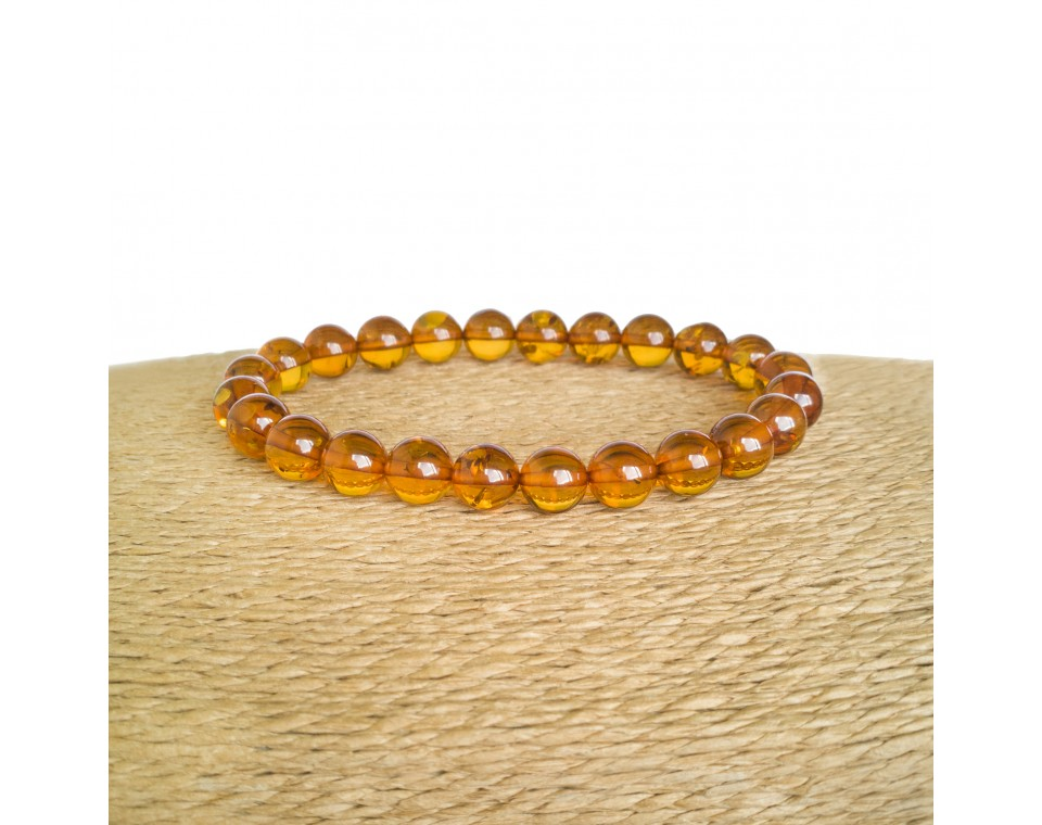 Cognac color genuine amber round (8mm) beads bracelet