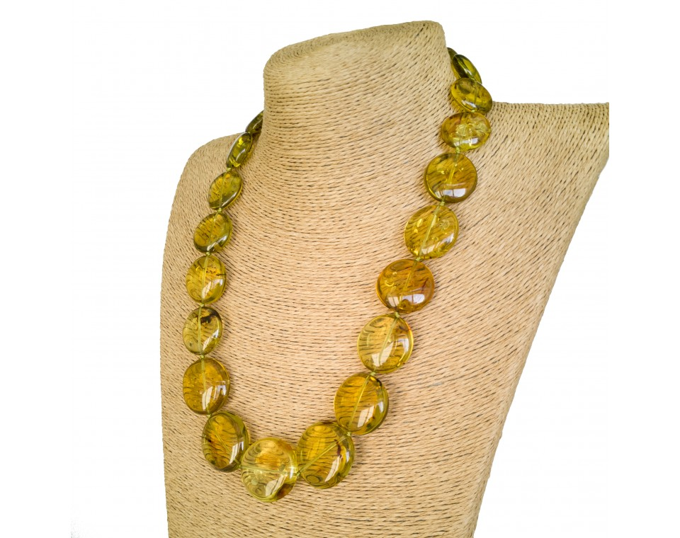 Cognac color round copal beads necklace #01
