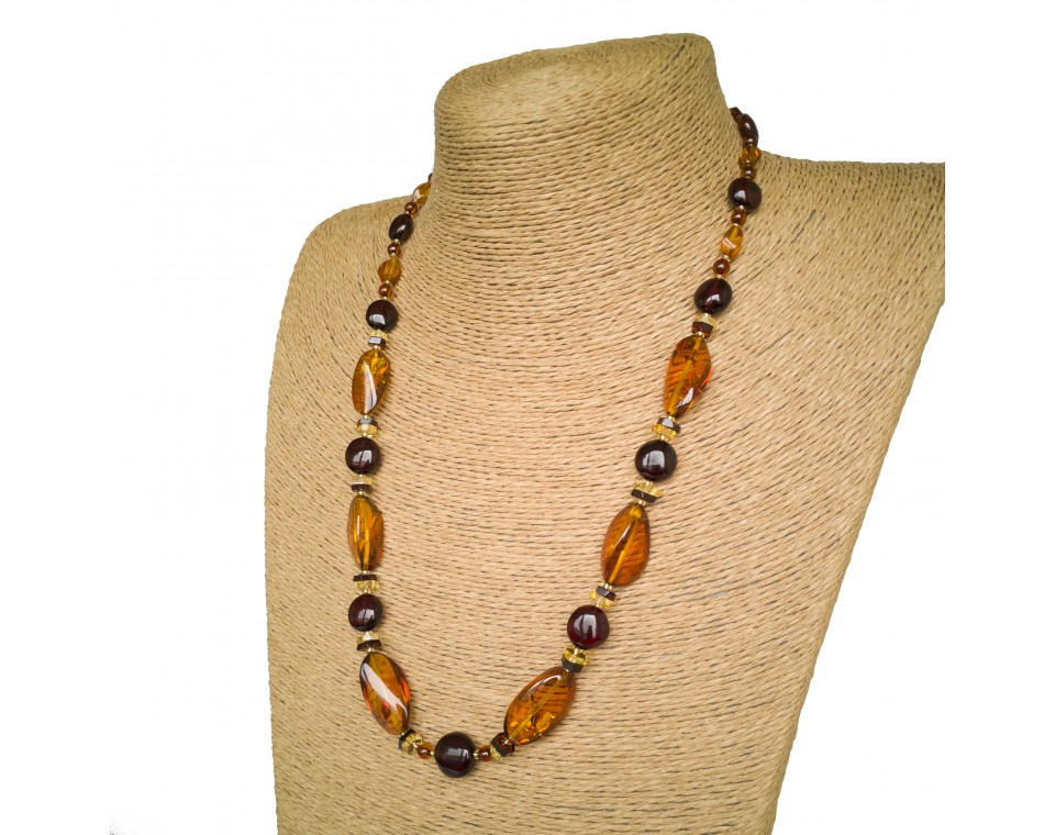 Cognac color twisted natural amber necklace x cherry beads