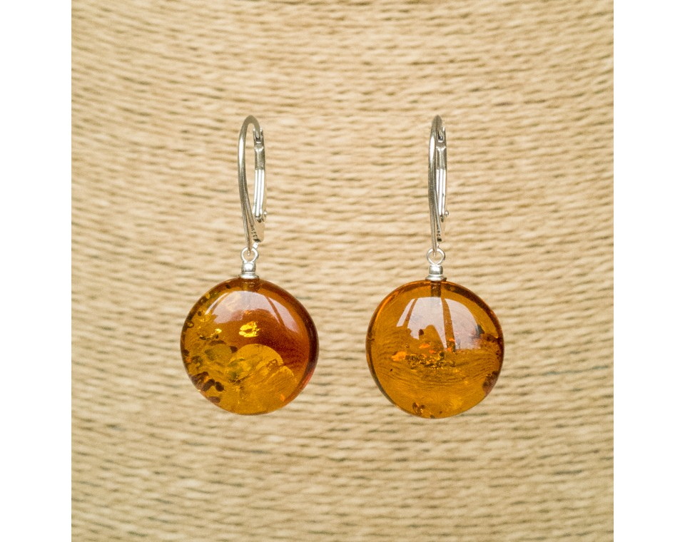 Cognac round earrings