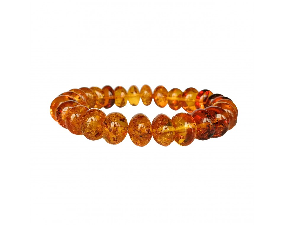 Genuine amber large clear cognac color nuggets bracelet