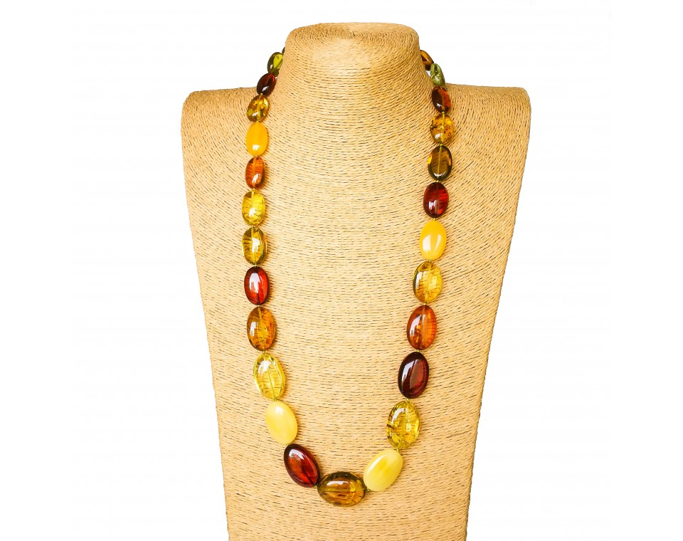 Multicolor copal oval beads long necklace