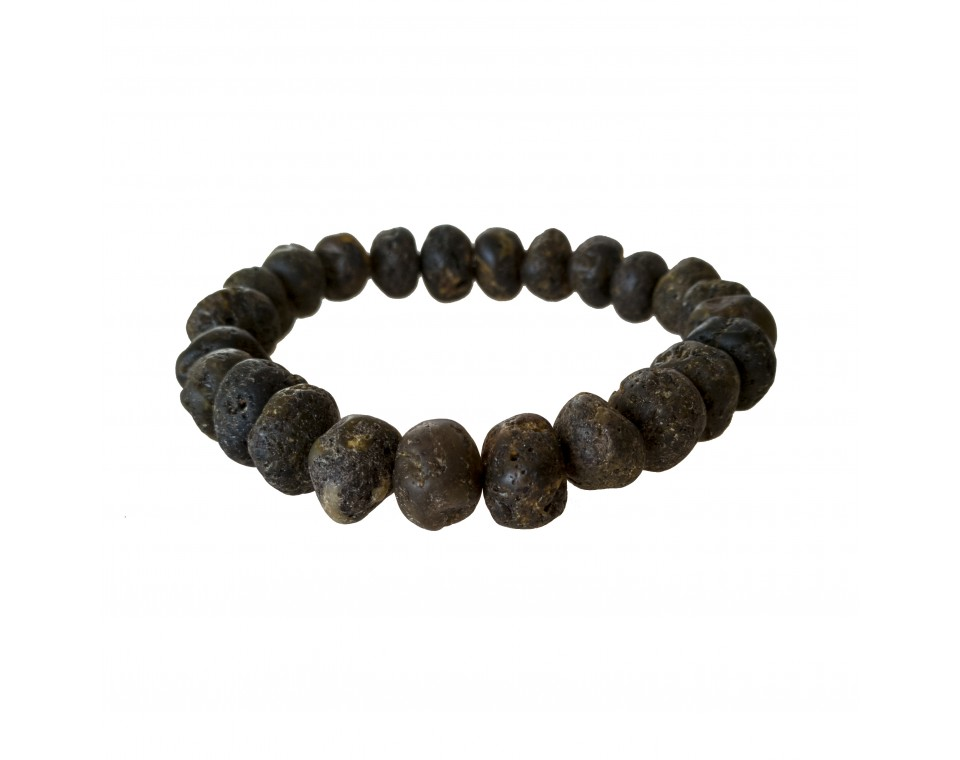 Dark frozen raw amber bracelet #01