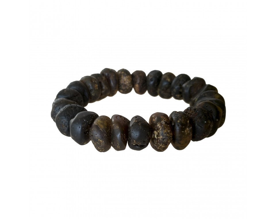 Dark frozen raw amber bracelet #02
