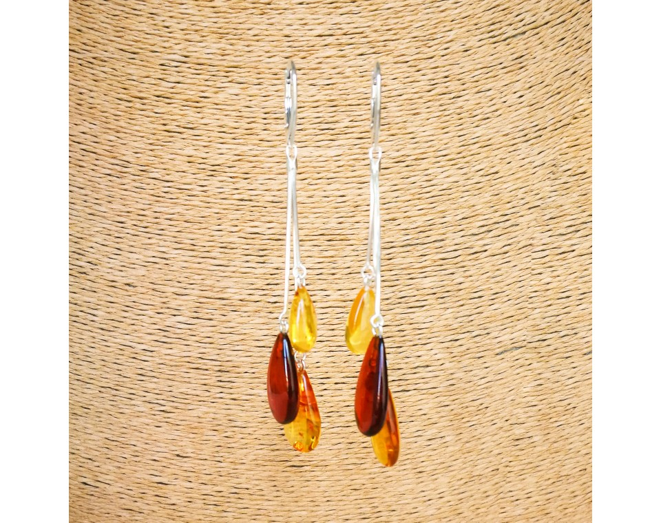 SY mix color amber drops earrings #04
