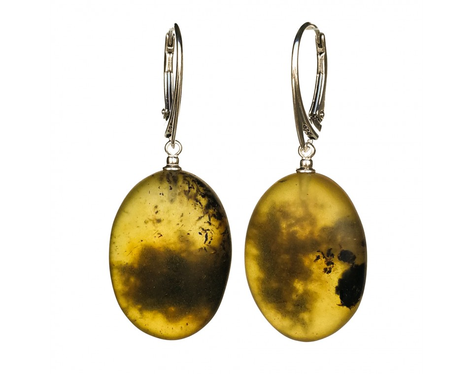 Frozen green amber earrings plums #02
