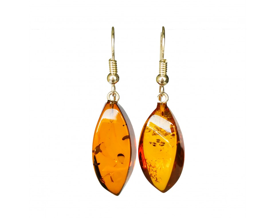 Twisted cognac earrings #05