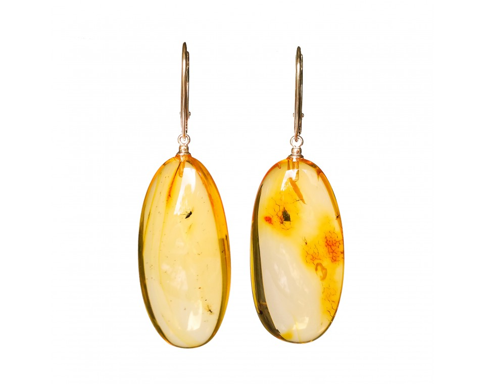 Natural amber earrings with inclussions #03