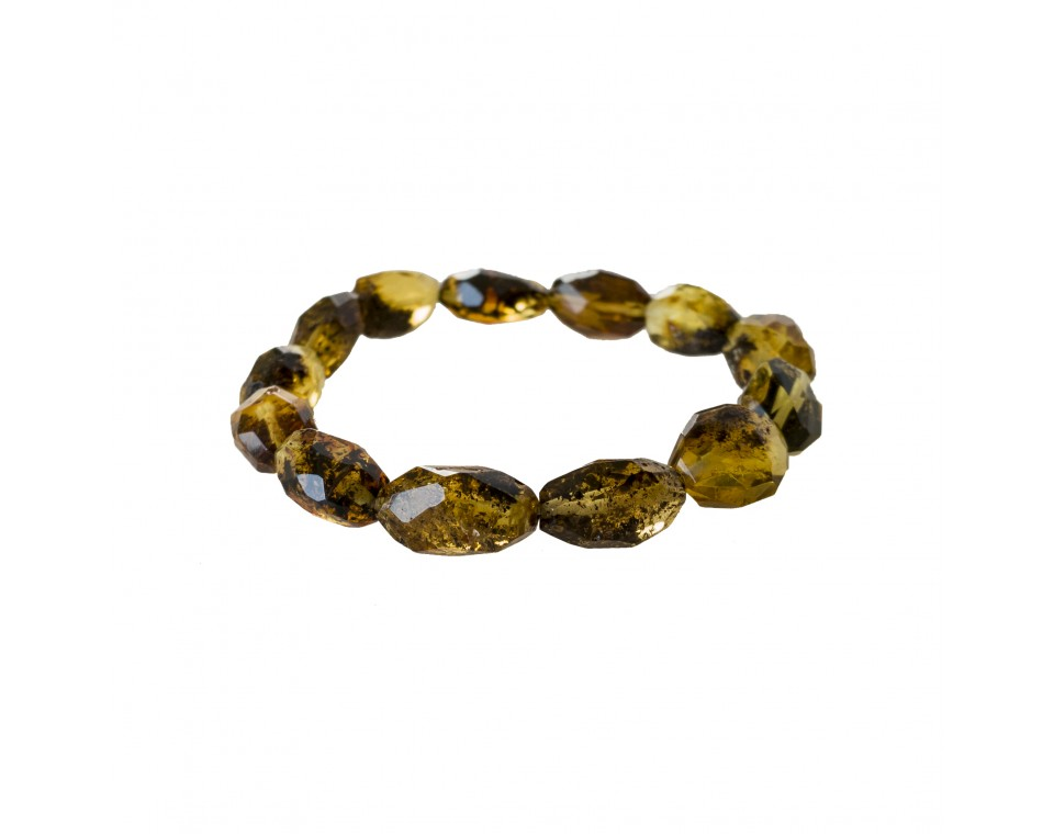 Faceted green olives bracelet