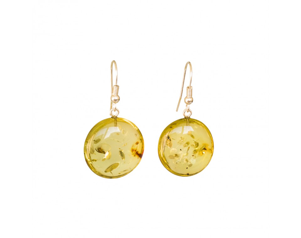 Flat round copal earrings in lemon color #02