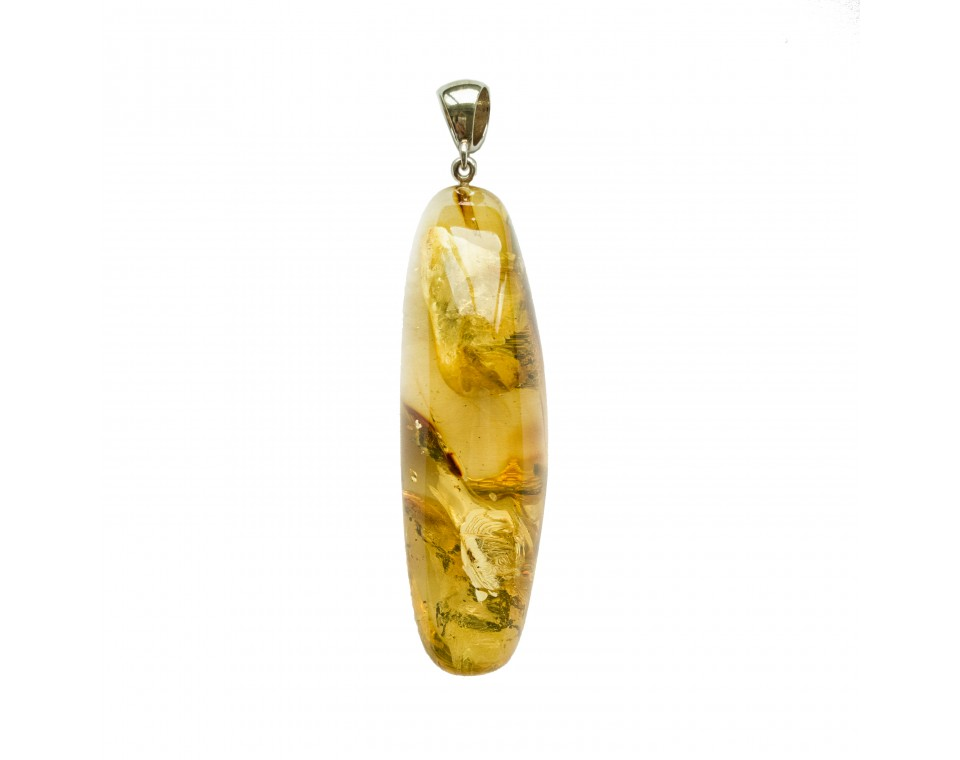 Free form green amber pendant