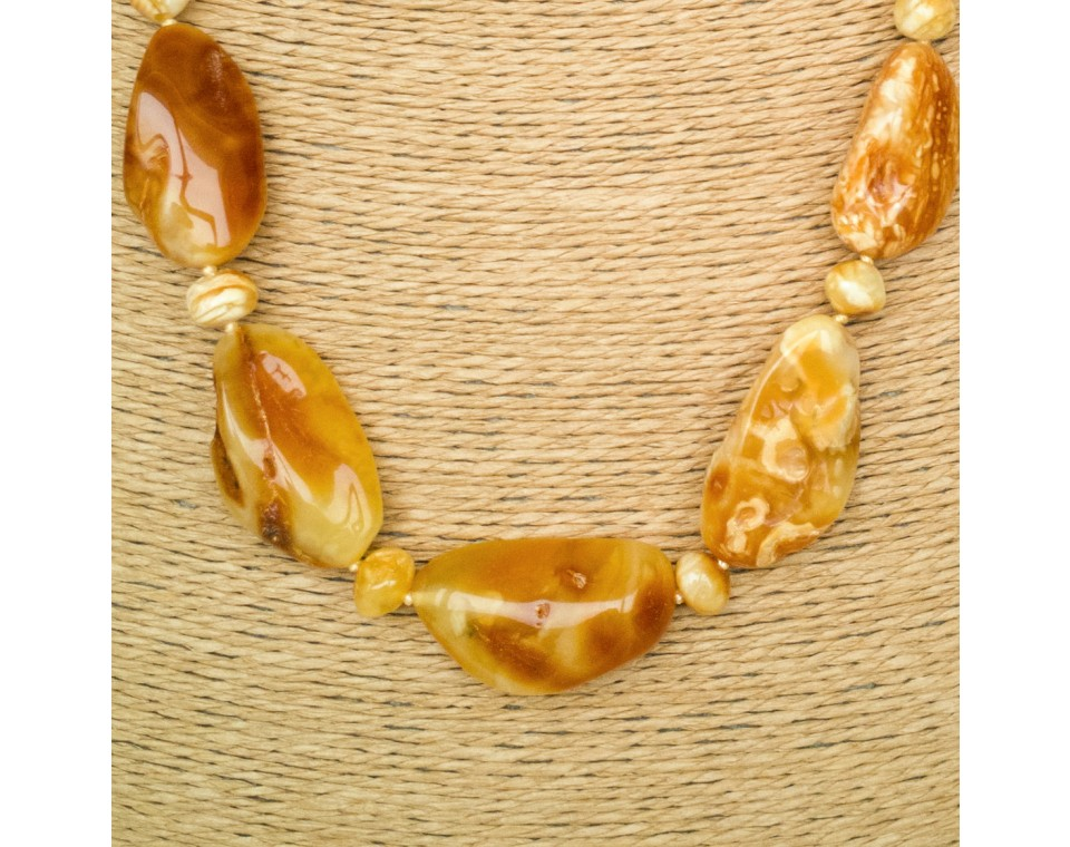 Free shape natural amber matt necklace #04
