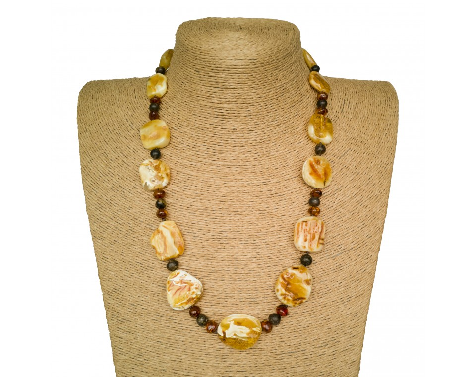 Free shape natural amber matt necklace #05