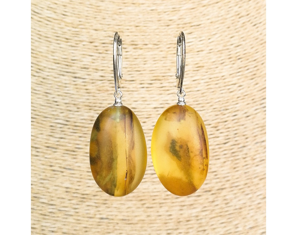 Frozen green amber round earrings #03