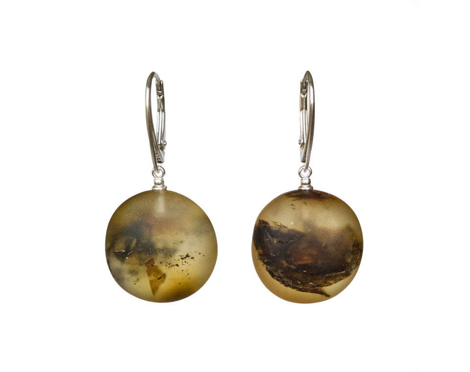 Frozen green amber round earrings #02