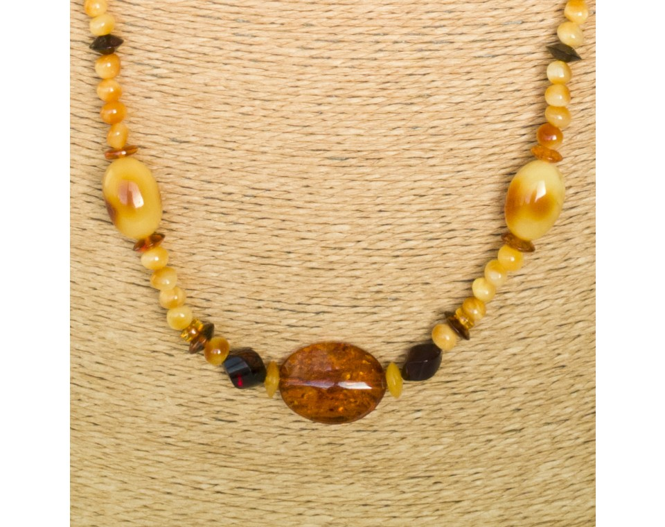 Genuine amber matt x cognac beads necklace composition #03