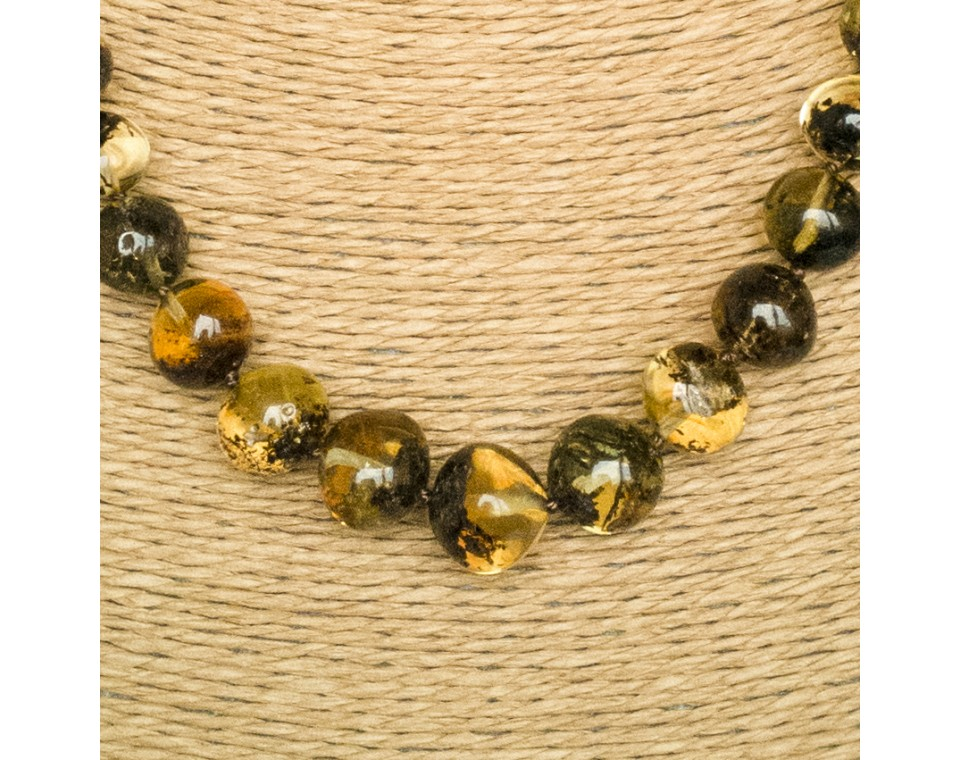 Green amber baroque necklace #02