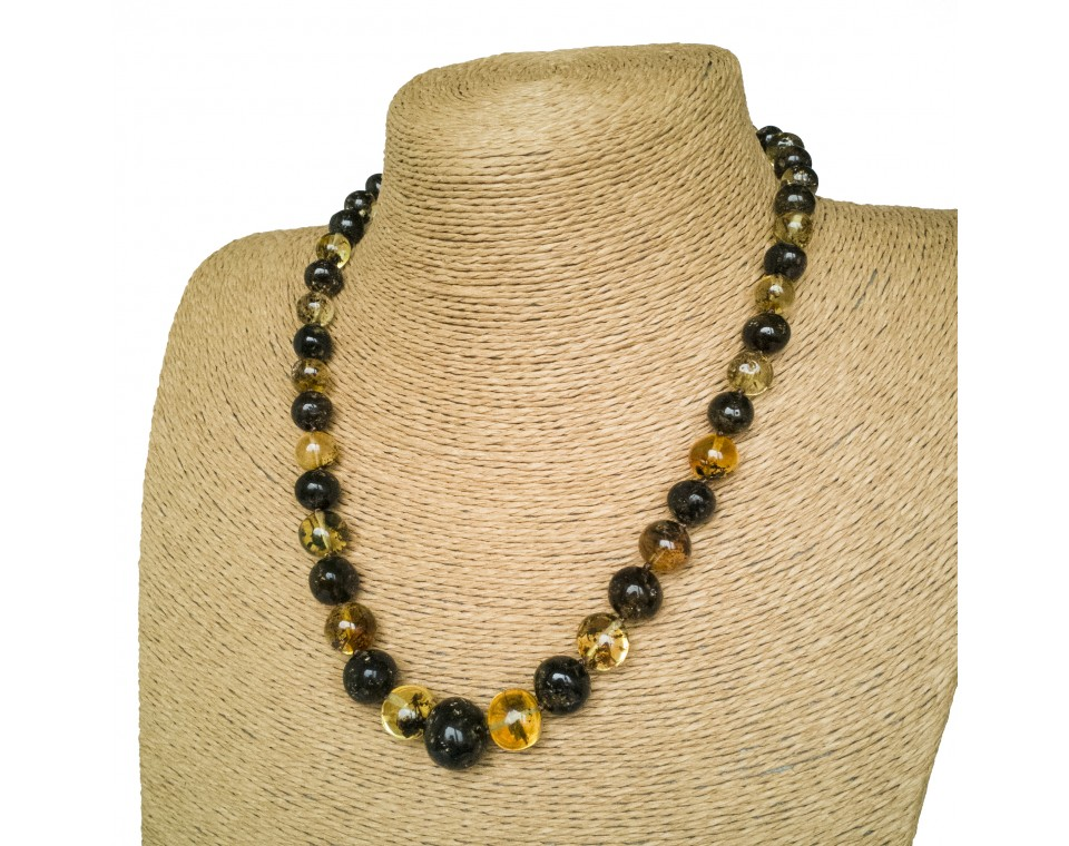 Green amber baroque necklace #03
